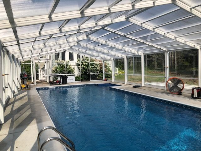 Maine Pool Enclosure Manufactured By Roll A Cover Intl Pool Enclosures Swimming Pools Backyard Residential Pool
