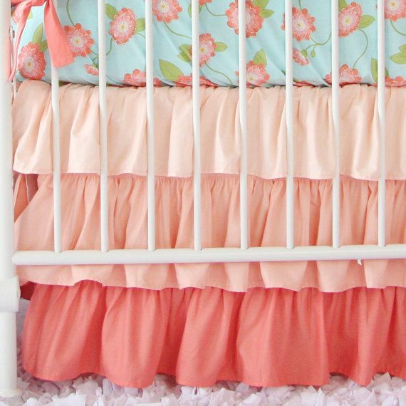 Coral & Aqua Floral Baby Bedding 3 pc by CadenLaneBabyBedding a bedskirt like this would be cute for a dorm room
