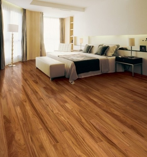 This is a Doussie Engineered Floor. Doussie is a sustainably-grown African hardwood that's sometimes called Afzelia. What ever you call it, it's a highly figured, very hard wood that's also termite-resistant naturally.