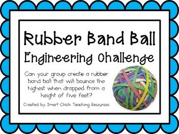 Rubber Band Ball: Engineering Challenge Project ~ Great STEM activity! Can your group create a rubber band ball that will bounce the highest when dropped from a height of five feet? $