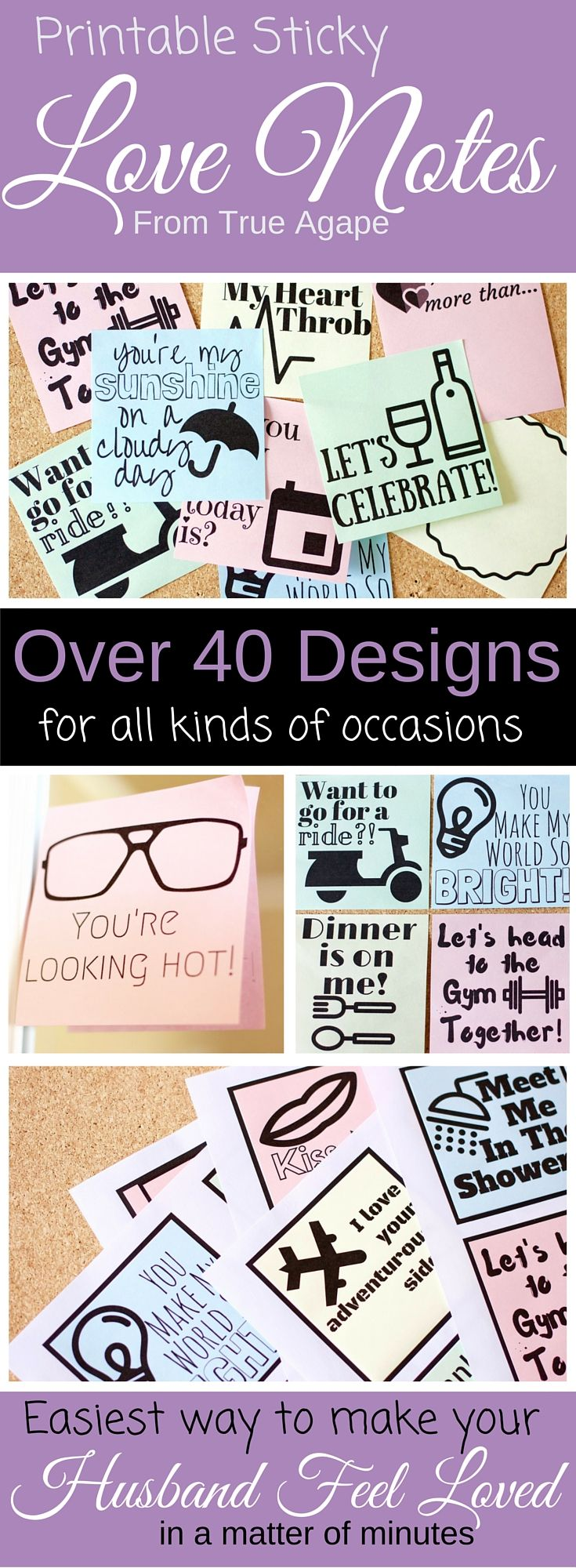 Printable sticky love notes with over 40 designs for all kinds of occasions. These are sure to make your man feel loved!