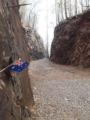 The Aussie flag in the Pass -  The Death Railway And Hellfire Pass http://jouljet.blogspot.com/2013/02/the-death-railway-and-hellfire-pass.html #Thailand #ANZACs #travel #Kanchanaburi