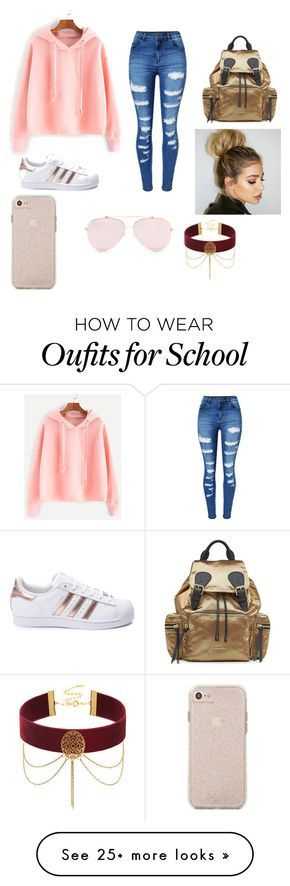 """PRETTY PETTY SCHOOL GILR"" by lebraladee2383 on Polyvore featuring WithChic, adidas and Burberry"
