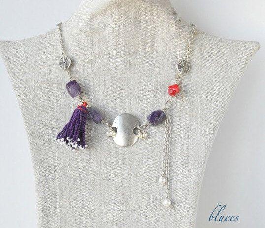 necklace purple semiprecious and red corals... $24.00, via Etsy.