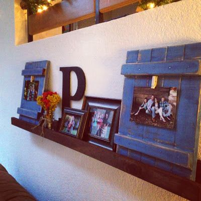 Diy Blue Picture Frames And Ledge My House Pinterest