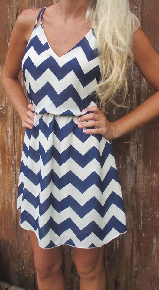 Super cute chevron dress in nautical navy and white, perfect for a southern beach girl :)  #