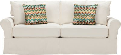 This was the couch at the beach house--super comfortable! Would LOVE 2 of these for the house.   Cindy Crawford Home Beachside Natural Sofa . $688.00. 86.5W x 41D x 36H.