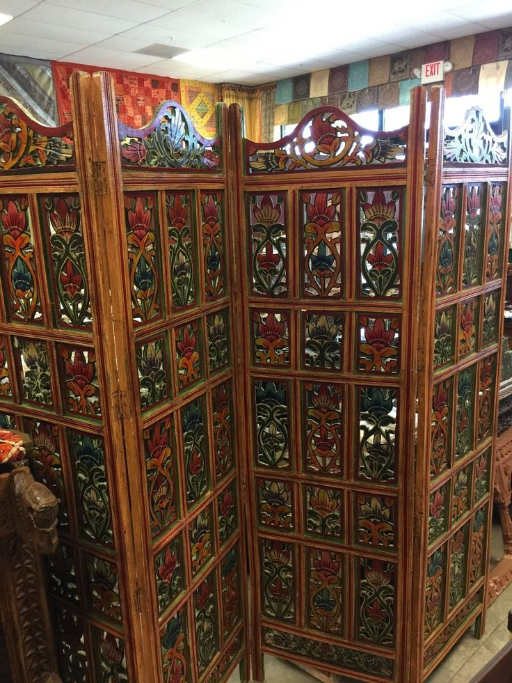 Indian Vintage Jaipur Screen 4 Panel Floral Handcrafted Wood Room Divider Screen | eBay    http://stores.ebay.com/mogulgallery/Architecturals-/_i.html?_fsub=1109606419&_sid=3781319&_trksid=p4634.c0.m322
