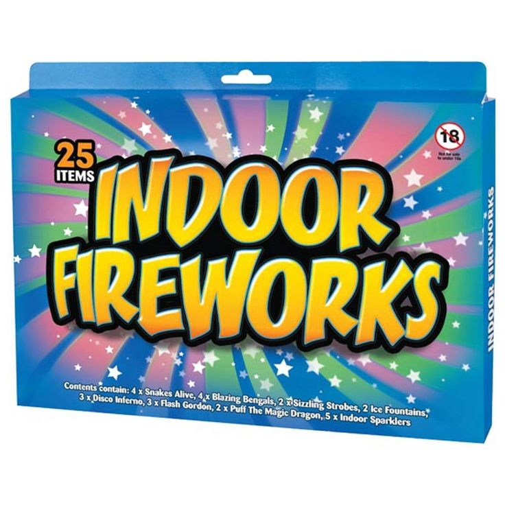 Indoor Fireworks Pack of 25 - This 25 pack of Indoor Fireworks includes an eclectic mix of 8 varieties of indoor fireworks, enough to make a whole mini fireworks display and start your celebration with a bang!