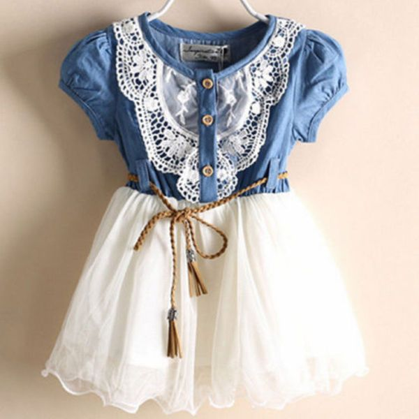 2016 Kids Baby Girls Party Lace Flower Tulle Denim Dress Casual Summer Dresses #Unbranded #Everyday