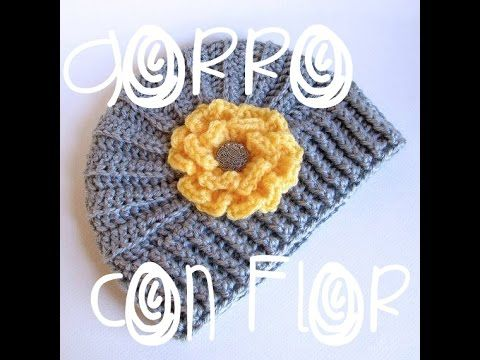 Gorro tejido con flor/ how to crochet a flower hat