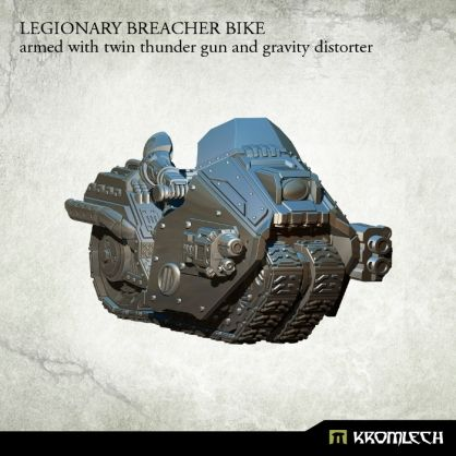 This set contains one high quality resin Legionary Breacher Bike armed with twin thunder gun and gravity distorter. Designed to fit futuristic 28mm heroic scale heavy armoured troopers. As an additional parts you get biker legs and arms which you can combine with Legionaries torsos, heads, shoulder pads and backpacks sold separately.