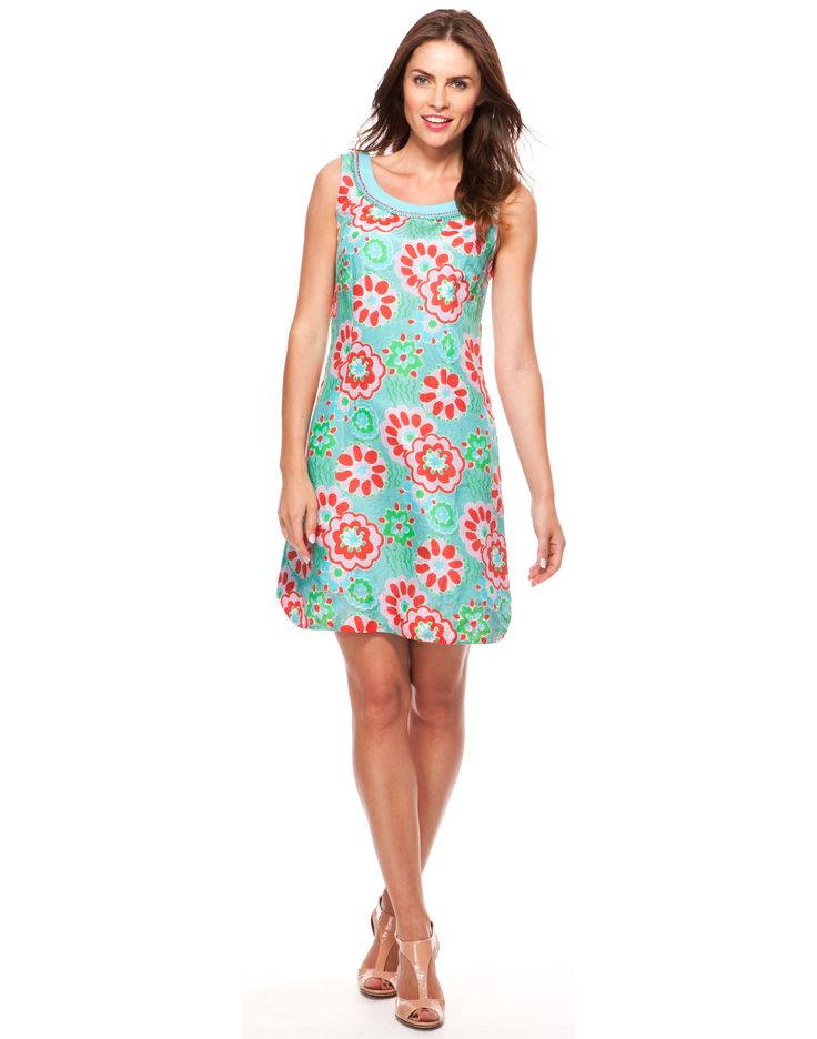 Whimsy Print Dress - Turquoise