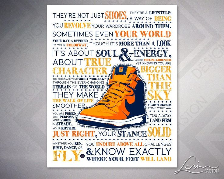 SYRACUSE COLORS - SHOES: Where Do Your Feet Land? - Orange & Blue, Additional Colors Available - by Lorin Easton - 11x14 or 16x20 or 24x30 by EastonDesign on Etsy