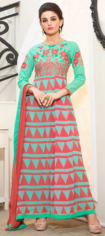 437265 Blue, Green color family Party Wear Salwar Kameez, Printed Salwar Kameez in Faux Georgette fabric with Floral, Machine Embroidery, Printed, Thread work .