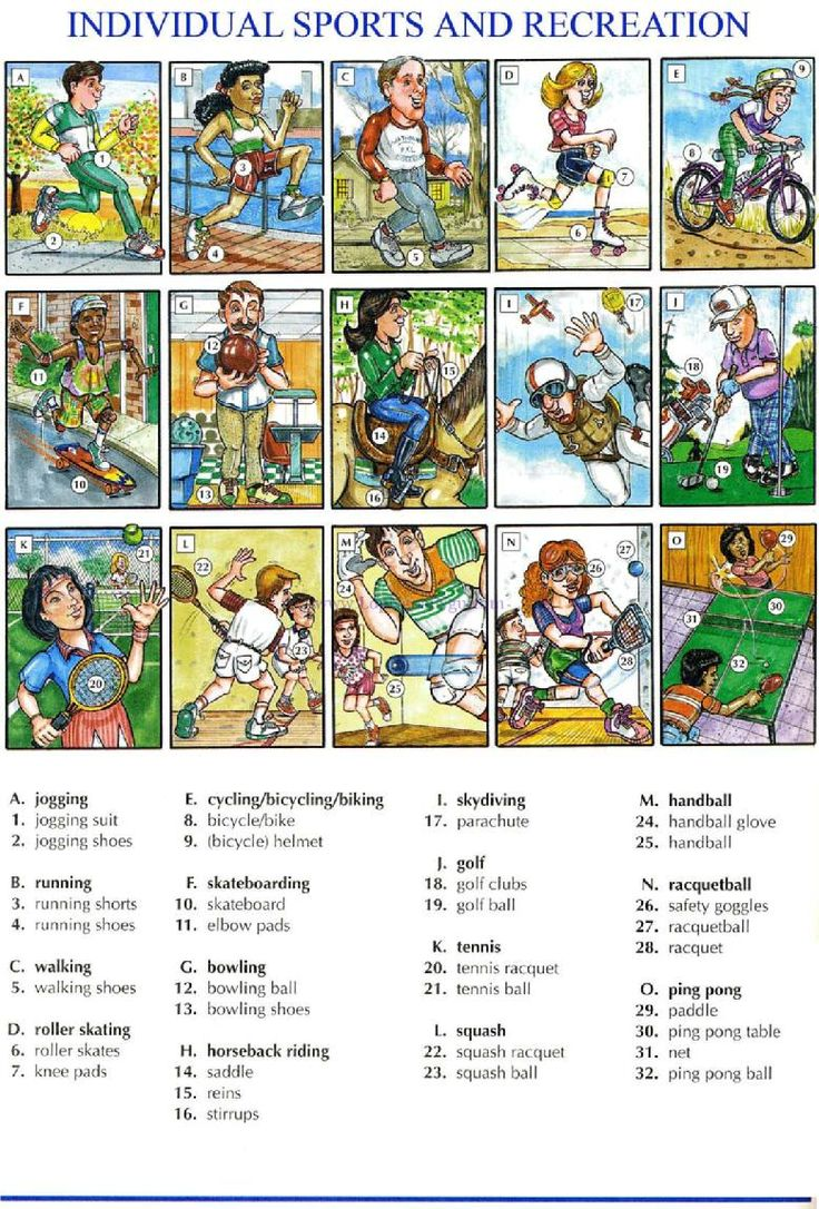 98 - INDIVIDUAL SPORTS AND RECREATION A - Picture Dictionary - English Study, explanations, free exercises, speaking, listening, grammar lessons, reading, writing, vocabulary, dictionary and teaching materials