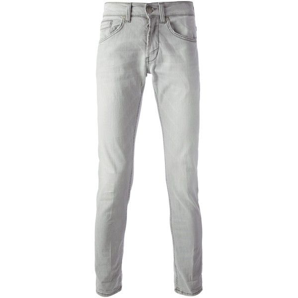 DONDUP skinny jean ($105) ❤ liked on Polyvore featuring men's fashion, men's clothing, men's jeans, mens grey skinny jeans, mens super skinny jeans, mens skinny jeans, mens zipper jeans and mens skinny fit jeans