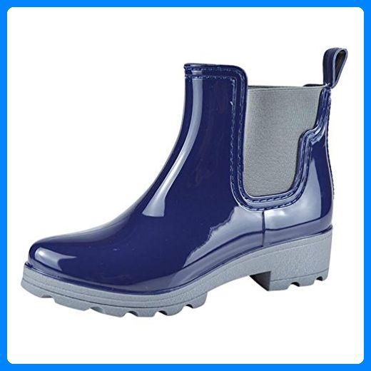 LvRao Frauen Regen Schnee Wasserdichte Schuhe Gefütterte Gummistiefel Warm Garten Boots Blau 36 - Stiefel für frauen (*Partner-Link)