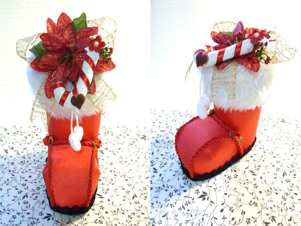 BOTA de Navidad 3D PAP | Todo en GOMA EVA  FUENTE - http://goma-eva.com/bota-de-navidad-3d-pap/