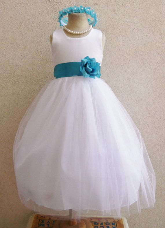 Flower Girl Dress WHITE/Turquoise RB POLOS Wedding Children Easter Bridesmaid Communion Turquoise Teal Mermaid Silver Green Sage Blue