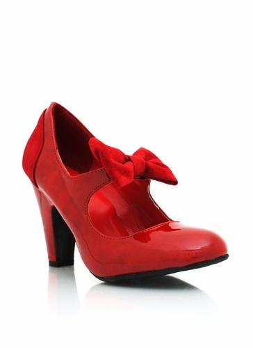 velvet bow mary jane heels