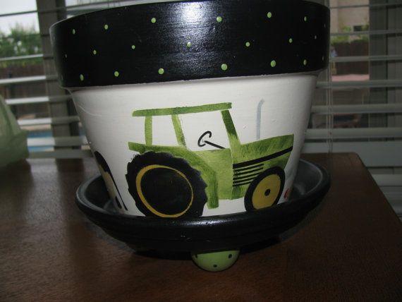 Pot de fleur... Tracteur John Deere & animaux de la ferme