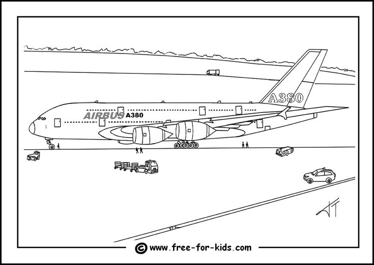 Airbus A380 Colouring Page Thumbnail Image basisschool