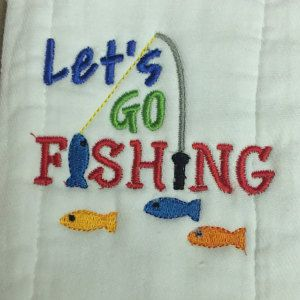 """Buyer photo Sue  using Original Stitches """"Let's Go Fishing"""" embroidery design."""