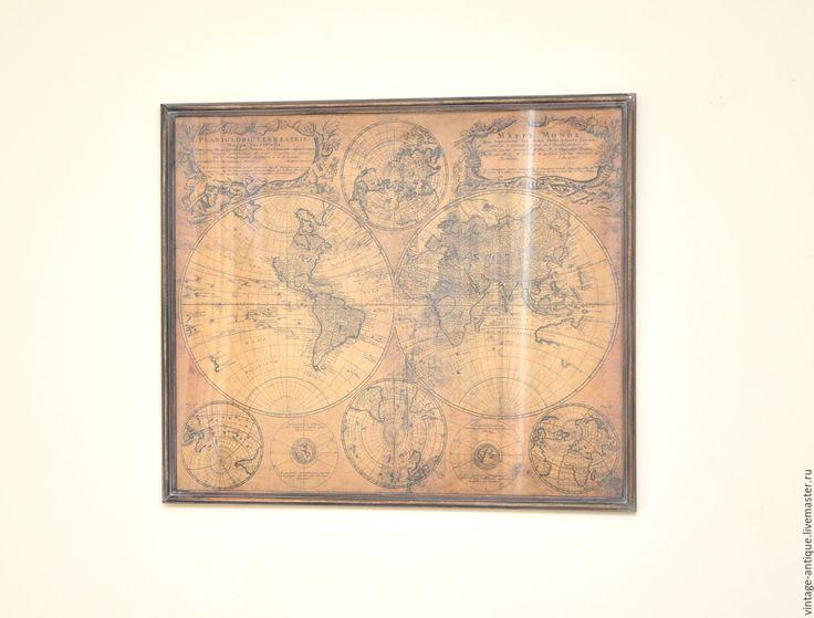 Купить Старинная Карта мира MAPPE MONDE интерьерная карта репродукция в раме - коричневый