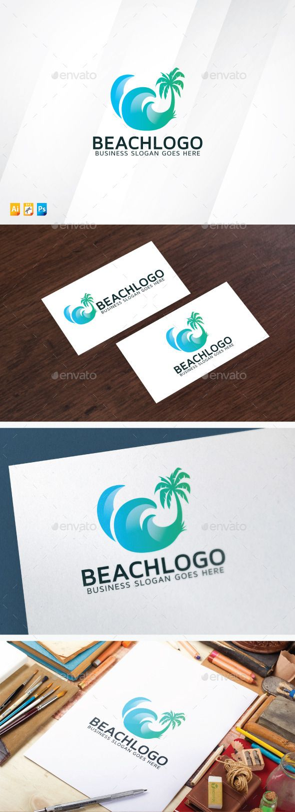 Beach - Logo Design Template Vector #logotype Download it here: http://graphicriver.net/item/beach-logo/12754488?s_rank=520?ref=nexion