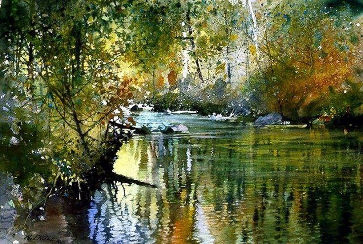 Акварельные пейзажи Nita Engle - Редкие заметы немолодого идеалиста #watercolor jd