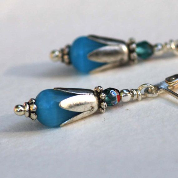 Julii's Favorite Tiny Blue Tiger-Eye earrings <3