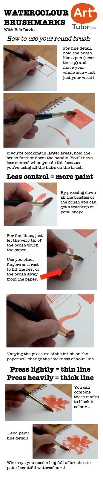 How to use your round brush in watercolour. For more watercolour tips and techniques, and to see the video of this lesson, go to http://www.arttutor.com/blog #watercolour