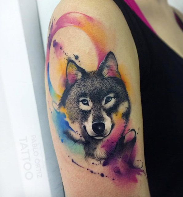 unique Animal Tattoo Designs - Wolf with abstract watercolor accents by Pablo Ortiz...