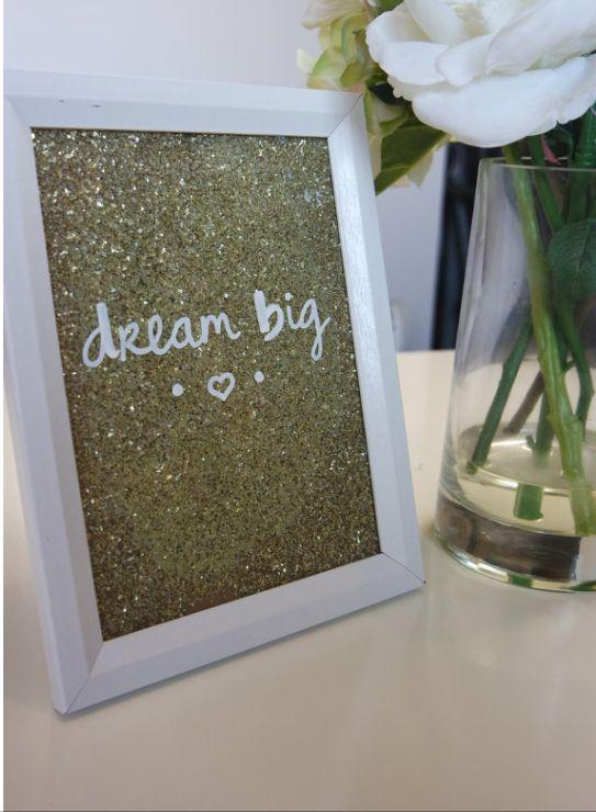 Dream Big Inspirational quote photo frame. Gold glitter. Gorgeous home decor.