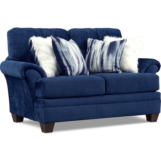 Cordelle Loveseat With Faux Fur Pillows