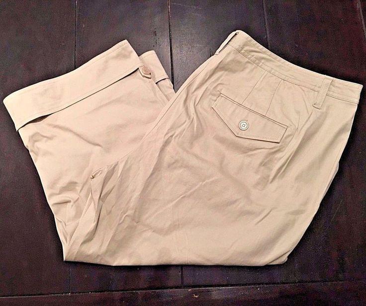Venezia Beige Cuffed Chino Capris Cotton Blend Cropped Pants Womens 24W #Venezia #CaprisCropped #Casual
