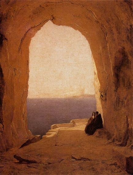 Artwork by Carl Blechen, Grotto in the Gulf of Naples, Made of Oil on oak panel