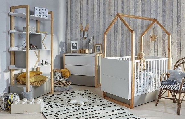 Pinette 2 Piece Nursery Set | Grey & White | Funique.co.uk