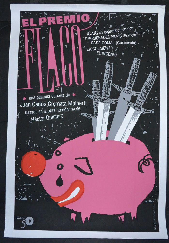 Cuban SILKSCREEN Theater POSTER.El Premio Flaco.Pink Piggy Bank 2009 art