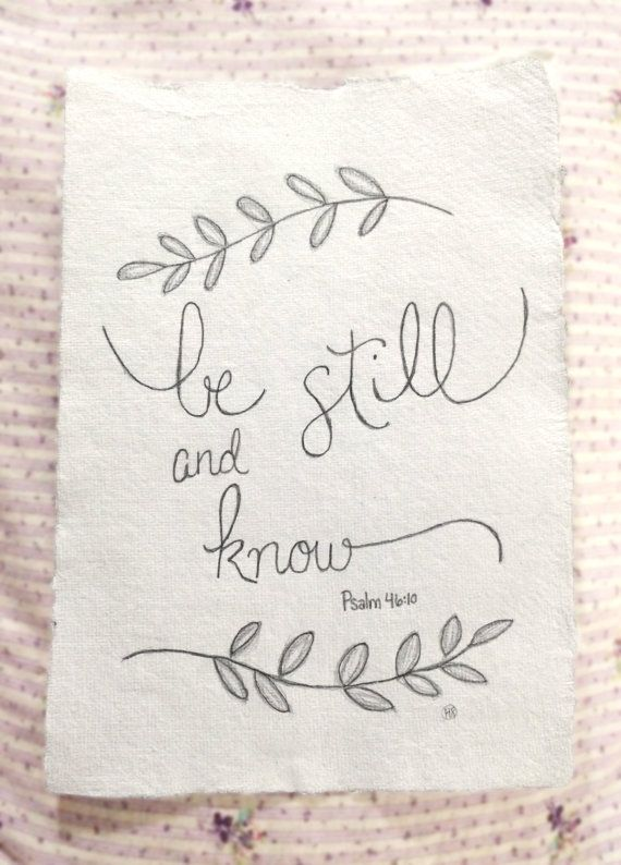 Custom Hand Drawn Scripture Art Psalm 46:10 by LovelyIntentions