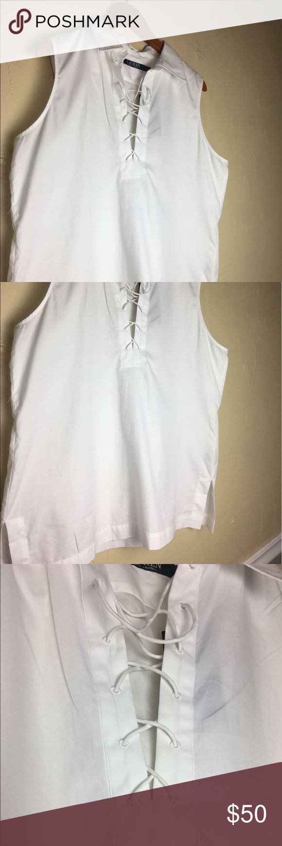 ❌SALE❌Lauren Ralph Lauren XL white crossing shirt 100% cotton lauren Ralph Lauren XL white blouse with beautiful detail in front area Lauren Ralph Lauren Tops Blouses