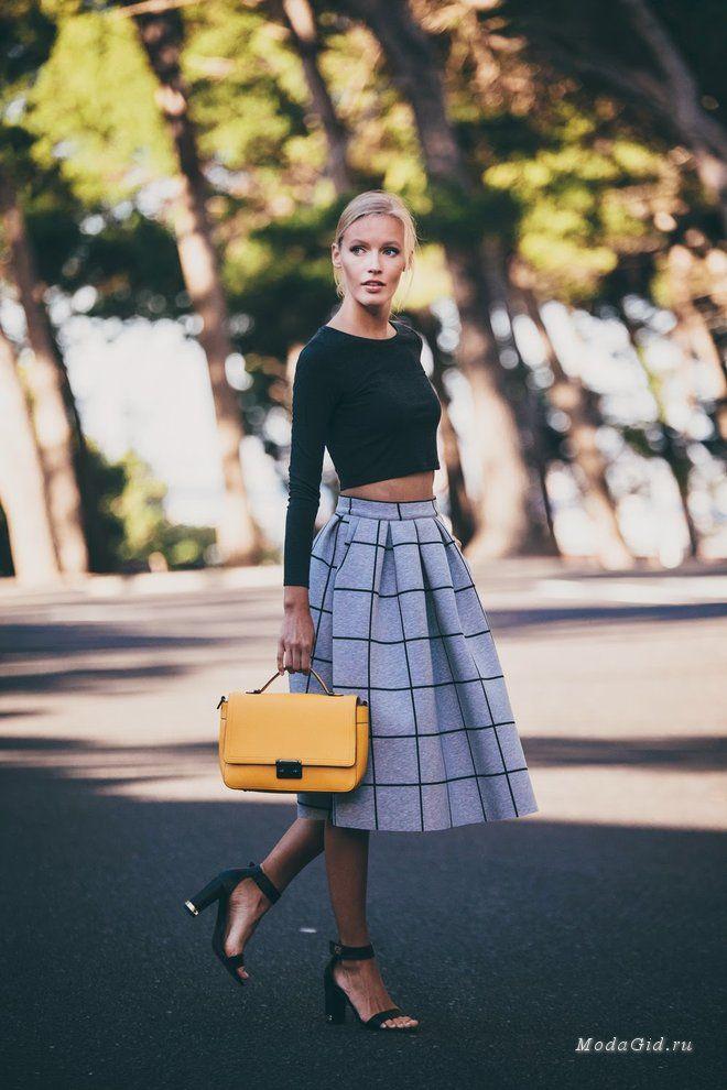 Уличная мода: Уличная мода лето 2015: образы с юбкой миди
