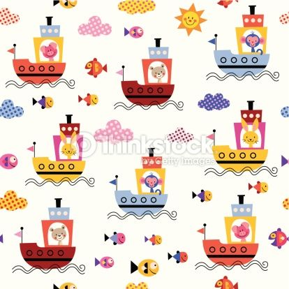 ベクトルアート : cute animals in boats kids sea pattern