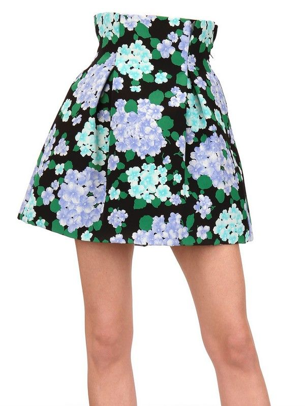 CATERINA GATTA Green Printed Crepe Skirt