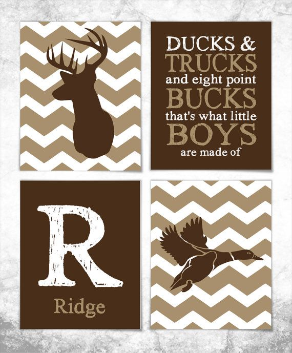 Hunting Print Set - Deer Print - Duck Print - Set of Four 8x10 Prints - Nursery Art - Baby Wall Art - Boy Room - Hunting Nursery - Chevron on Etsy, $44.00