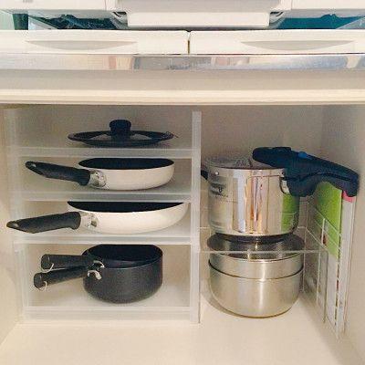 鍋 フライパンの収納アイデアと使いやすいキッチンになる収納のコツ コンロ下 収納 フライパン 収納 シンク下