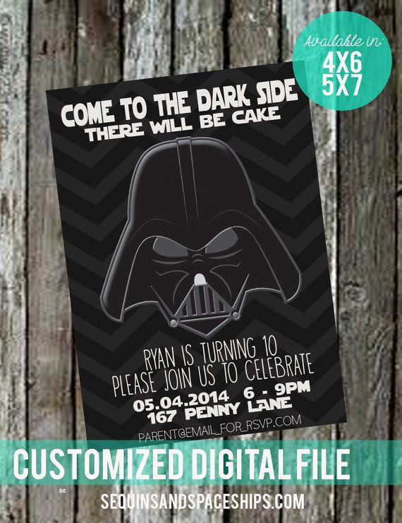 Star Wars/Darth Vader themed Birthday Party Invitations! Start it off by handing out these cute, high resolution invitations. Star Wars themed Birthday Party Invitations! Super Cute, Printable, high resolution invitations! Created By: sequinsandspaceships.com