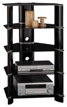 Bush - Segments Component Tower in High Gloss Black contemporary media storage