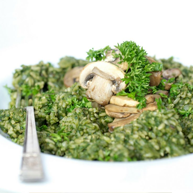 Green Risotto with Mushrooms. Click Visit for the recipe on our blog.